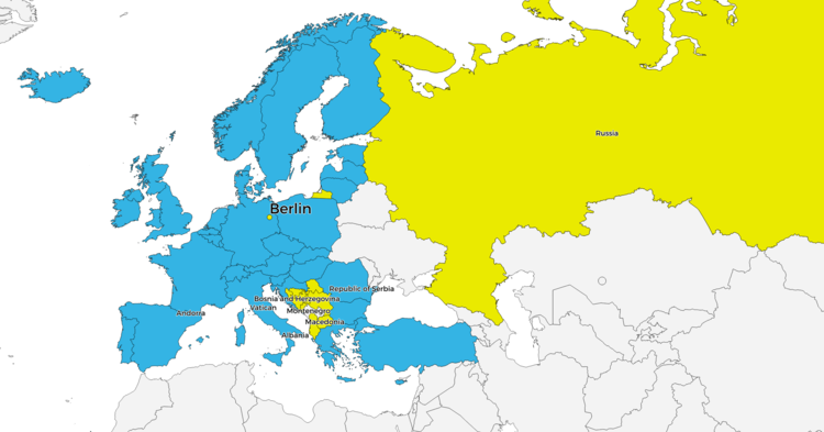 Map of the members of the Bologna Process at the Berlin Ministerial Conference